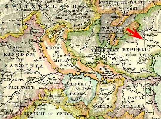Northern Italy map of 1796 showing position of Nervesa